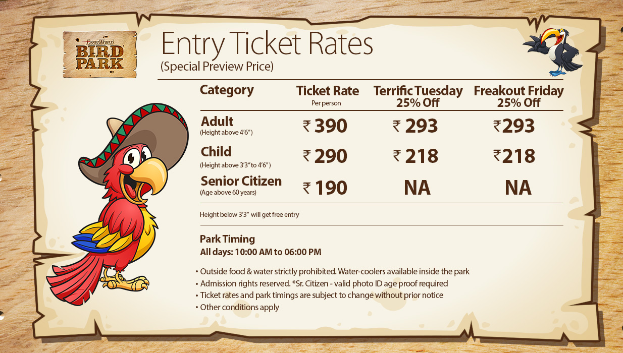 Ticket Rates And Timings Esselworld Bird Park